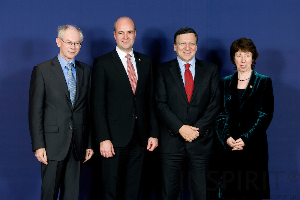 BRUSSELS - BELGIUM - 19 NOVEMBER 2009 -- Newly appointed European Union President Herman Van Rompuy, left, poses with the newly appointed EU's new foreign policy chief Catherine Ashton, right, European Commission President Jose Manuel Barroso, second right, and Swedish Prime Minister Fredrik Reinfeldt at the European Council building in Brussels, Thursday, Nov. 19, 2009. Belgium's Prime Minister Herman Van Rompuy was chosen as a compromise candidate by 27 EU leaders at a summit in Brussels on Thursday. He will take office on Jan. 1. The EU leaders also named trade commissioner Catherine Ashton of Britain as the EU's new foreign policy chief. PHOTO: ERIK LUNTANG