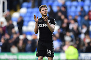 Eunan O'Kane (14) of Leeds United applauds, claps the Leeds fans at full time after a 2-2 draw during the EFL Sky Bet Championship match between Reading and Leeds United at the Madejski Stadium, Reading, England on 10 March 2018. Picture by Graham Hunt.