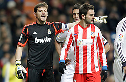 01.12.2012, Estadio Santiago Bernabeu, Madrid, ESP, Primera Division, Real Madrid vs Atletico Madrid, 14. Runde, im Bild Real Madrid's Iker Casillas reacts close to Atletico de Madrid's Adrian Lopez // during during the Spanish Primera Division 14th round match between Real Madrid CF and Club Atletico de Madrid at the Estadio Santiago Bernabeu, Madrid, Spain on 2012/12/01. EXPA Pictures © 2012, PhotoCredit: EXPA/ Alterphotos/ Alvaro Hernandez..***** ATTENTION - OUT OF ESP and SUI *****
