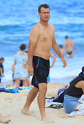 EXCLUSIVE: Lleyton Hewitt and young Australian tennis sensation Alex De Minaur pictured swimming at Coogee beach in Sydney. 07 Jan 2018 Pictured: Alex De Minaur; Lleyton Hewitt. Photo credit: KHAPGG / MEGA TheMegaAgency.com +1 888 505 6342
