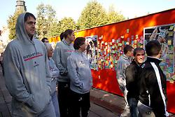 Erazem Lorbek, Roman Volcic of National basketball team of Slovenia walking at Laisves Al. in Kaunas city centre during FIBA Europe Eurobasket Lithuania 2011, on September 14, 2011, in Kaunas, Lithuania.  (Photo by Vid Ponikvar / Sportida)