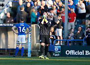 Josh Lillis of Rochdale looks to the sky as he waits for the Northampton v Oldham result, during the EFL Sky Bet League 1 match between Rochdale and Charlton Athletic at Spotland, Rochdale, England on 5 May 2018. Picture by Paul Thompson.