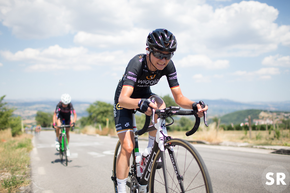 Claudia Lichtenberg (GER) of Wiggle Hi5 Cycling Team works hard up on the climb to Montemiletto during Stage 7 of the Giro Rosa - a 141.9 km road race, between Isernia and Baronissi on July 6, 2017, in Isernia, Italy. (Photo by Balint Hamvas/Velofocus.com)