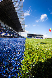 A view of the blue and green parts on the new plastic pitch at The Falkirk Stadium, for the Scottish Championship game v Morton. The woven GreenFields MX synthetic turf and the surface has been specifically designed for football with 50mm tufts compared with the longer 65mm which has been used for mixed football and rugby uses.  It is fully FFA two star compliant and conforms to rules laid out by the SPL and SFL.<br />