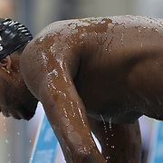 Cullen Jones, USA, training at the Aquatic Centre at Olympic Park, Stratford during the London 2012 Olympic games preparation at the London Olympics. London, UK. 25th July 2012. Photo Tim Clayton