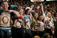 KELOWNA, CANADA - JANUARY 10: Fans enjoy the game between the Kelowna Rockets and the Medicine Hat Tigers on January 10, 2015 at Prospera Place in Kelowna, British Columbia, Canada.  (Photo by Marissa Baecker/Shoot the Breeze)  *** Local Caption *** Fans