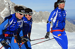 Slovenian team of nordic skiing:  Vesna Fabjan, Barbara Jezersek, Katja Visnar at practice of Slovenian Cross country National team before new season 2008/2009, on October 22, 2008, glacier Dachstein, Ramsau, Austria. (Photo by Vid Ponikvar / Sportida).