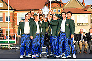 Team USA lift the Walker Cup after their victory 15.5 to 10.5 at the Royal Liverpool Golf Club, Sunday, Sept 8, 2019, in Hoylake, United Kingdom. (Steve Flynn/Image of Sport)