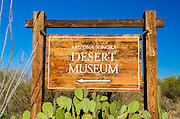 Arizona-Sonora Desert Museum sign, Tucson, Arizona USA
