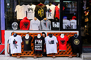 An Albanian t-shirt shop in the south side of Mitrovica, a town in Northern Kosovo that straddles the river Ibar which separates the Serbian and Albanian districts of Mitrovica, Kosovo on the 12th of December 2018.  Mitrovica or Kosovska Mitrovica is a city and municipality located in Kosovo. Settled on the banks of Ibar and Sitnica rivers, the city is the administrative center of the Mitrovica District.  (photo by Andrew Aitchison / In pictures via Getty Images)