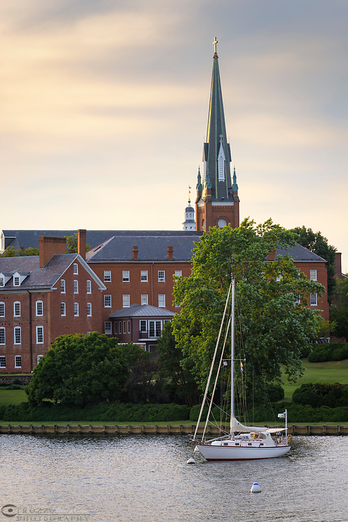 St. Mary's Catholic Church and Spa Creek, Annapolis, Maryland.
