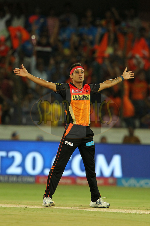 Siddharth Kaul of Sunrisers Hyderabad celebrates wicket of Parthiv Patel of Mumbai Indians during  match 48 of the Vivo 2017 Indian Premier League between the Sunrisers Hyderabad and the Mumbai Indians held at the Rajiv Gandhi International Cricket Stadium in Hyderabad, India on the 8th May 2017Photo by Prashant Bhoot - Sportzpics - IPL
