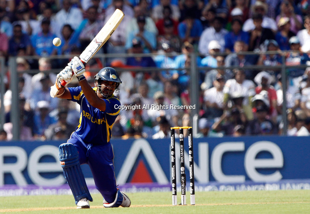 02.04.2011 Cricket World Cup Final from the Wankhede Stadium in Mumbai. Sri Lanka v India.   Sri Lankan Captian Kumar Sangakkara plays a shot during the final match of the ICC Cricket World Cup between India and Sri Lanka on the 2nd April 2011
