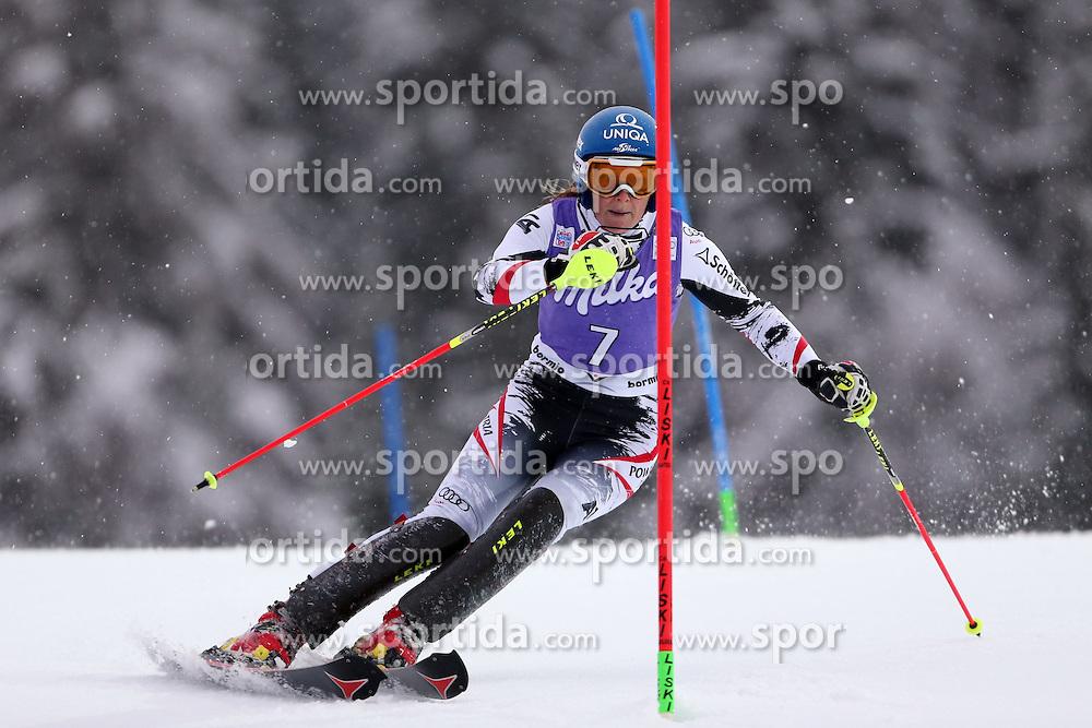 05.01.2014, Stelvio, Bormio, ITA, FIS Ski Alpin Weltcup, Salom, Damen, 1. Durchgang, im Bild Marlies Schild // Marlies Schild in action during 1st run of ladies Slalom of the Bormio FIS Ski World Cup at the Stelvio Course in Bormio, Italy on 2014/01/05. EXPA Pictures &copy; 2014, PhotoCredit: EXPA/ Sammy Minkoff<br /> <br /> *****ATTENTION - OUT of GER*****
