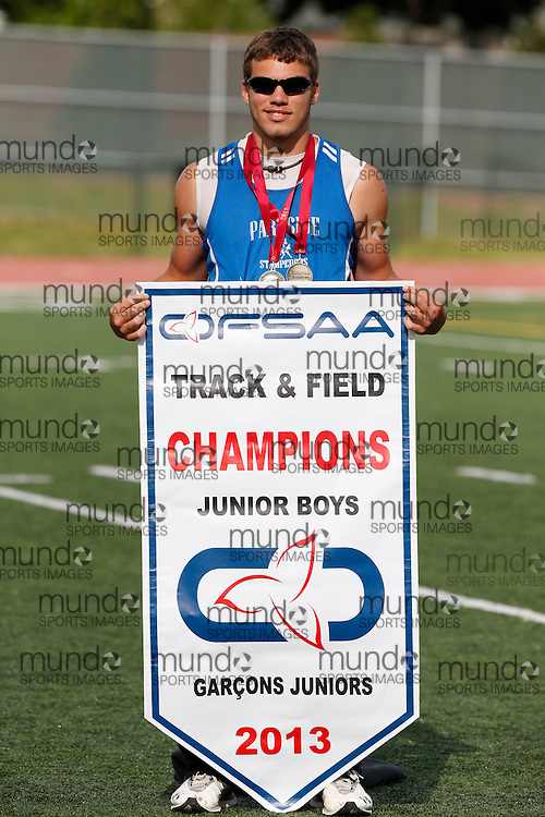 Noah Rolph celebrates Parkside's Junior Boys team championship at the 2013 OFSAA Track and Field Championship in Oshawa Ontario, Sunday,  June 9, 2013.<br /> Mundo Sport Images/ Geoff Robins