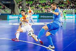 Adolfo of Spain and Chingiz Yessenamanov of Kazakhstan during futsal match between Kazakhstan and Spain in Semifinals of UEFA Futsal EURO 2018, on February 8, 2018 in Arena Stozice, Ljubljana, Slovenia. Photo by Ziga Zupan / Sportida