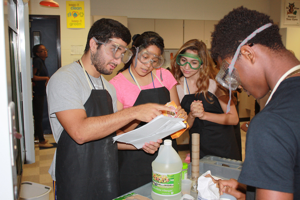Westside High School students in science lab, October 8, 2014.
