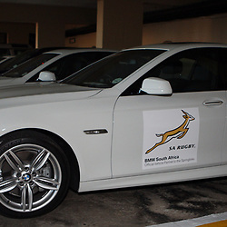 DURBAN, SOUTH AFRICA - JUNE 03, BMW branded Springboks car during the Springboks media briefing at Beverley Hills Hotel on June 03, 2012 in Durban, South Africa<br /> Photo by Steve Haag / Gallo Images