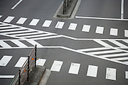 a typical multi pedestrian zebra crossing in Tokyo Japan