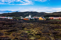 Iceland. The village of Reykjahlíd is situated on the shores of Lake Mývatn.