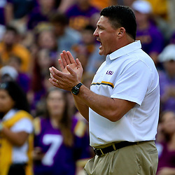 Oct 15, 2016; Baton Rouge, LA, USA;  LSU Tigers head coach Ed Orgeron before a game against the Southern Miss Golden Eagles at Tiger Stadium. Mandatory Credit: Derick E. Hingle-USA TODAY Sports