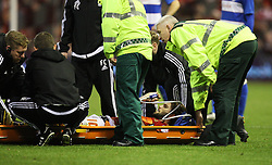 Henri Lansbury of Nottingham Forest is stretchered off the pitch after sustaining a bad injury - Mandatory byline: Jack Phillips/JMP - 09/01/2016 - FOOTBALL - The City Ground - Nottingham, England - Nottingham Forest v QPR -