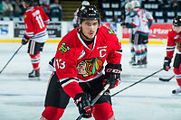 KELOWNA, CANADA - APRIL 8: Keegan Iverson #13 of the Portland Winterhawks warms up on net against the Kelowna Rockets on April 8, 2017 at Prospera Place in Kelowna, British Columbia, Canada.  (Photo by Marissa Baecker/Shoot the Breeze)  *** Local Caption ***