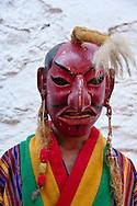 Mask dance performers at Tshechu Festival, Punakha Dzong, Punakha, Bhutan