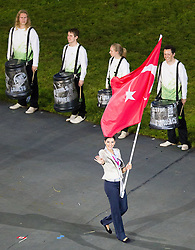 27.07.2012, Olympia Park, London, GBR, Olympia 2012, Eroeffungsfeier, im Bild Einzug der Nationen, Tuerkei // Entrance of the Nations, Turkey during opening ceremony at the 2012 Summer Olympics at Olympic Park London, United Kingdom on 2012/07/27. EXPA Pictures © 2012, PhotoCredit: EXPA/ Johann Groder