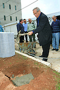 "Stef Wertheimer at the cornerstone ceremony for the ""metzudat koach"" museum. Metzudat Koach Memorial (also Nabi Yusha fortress) commemorates 28 soldiers who died during the conquering of the strategically important fortress, in 1948. The fortress and observation point is located in the Upper Galilee, Near Naharia. The fortress was a key observation point in the Naftali heights, overlooking the Hula Valley, and used mostly in an attempt to block the Palestine/Lebanon border. Today, the fortress serves as an Israel Border Police base."