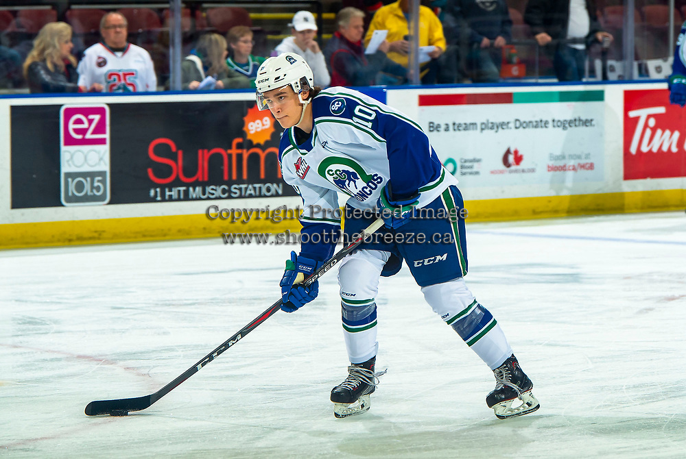 KELOWNA, BC - OCTOBER 16:  Carter Chorney #10 of the Swift Current Broncos warms up against the Kelowna Rockets at Prospera Place on October 16, 2019 in Kelowna, Canada. (Photo by Marissa Baecker/Shoot the Breeze)