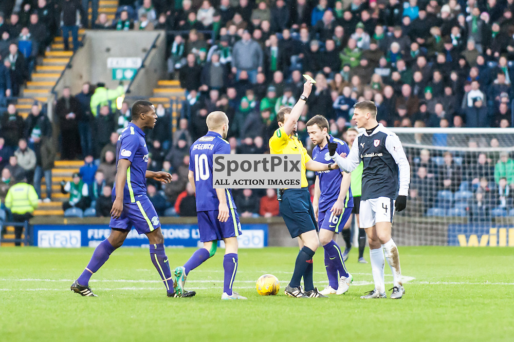 Raith Rovers Ross Callachan gets an early yellow card. Action from the Raith Rovers v Hibernian game in the 3rd Round of the Scottisg Cup at  in Kirkcaldy, 9 January 2016. (c) Paul J Roberts / Sportpix.org.uk