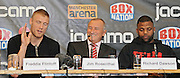 29.NOVEMBER.2012. MANCHESTER<br /> <br /> FREDDIE FLINTOFF AND RICHARD DAWSON ATTEND THEIR PRESS CONFERENCE AHEAD OF THEIR FIGHT ON FRIDAY NIGHT. <br /> <br /> BYLINE: EDBIMAGEARCHIVE.CO.UK<br /> <br /> *THIS IMAGE IS STRICTLY FOR UK NEWSPAPERS AND MAGAZINES ONLY*<br /> *FOR WORLD WIDE SALES AND WEB USE PLEASE CONTACT EDBIMAGEARCHIVE - 0208 954 5968*