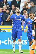 Chelsea forward Diego Costa (19) celebrates scoring goal to go 2-0 up during the Premier League match between Hull City and Chelsea at the KCOM Stadium, Kingston upon Hull, England on 1 October 2016. Photo by Ian Lyall.