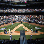 Time to reflect...Alex Rodriguez during his third at bat in a Yankees uniform after his year long ban in the New York Yankees Vs Toronto Blue Jays season opening day at Yankee Stadium, The Bronx, New York. 6th April 2015. Photo Tim Clayton