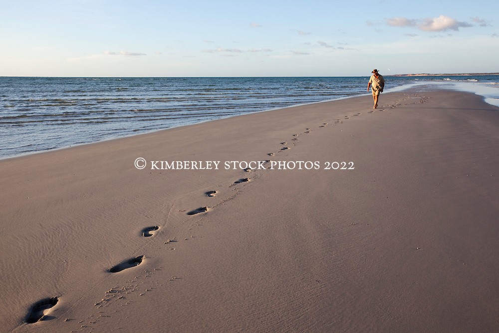 A lone visitor walks along the sandbank at Lombadina on the Dampier Peninsular.