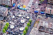 ROTTERDAM - Luchtfoto van rellen op de Coolsingel. anp ROBIN UTRECHT