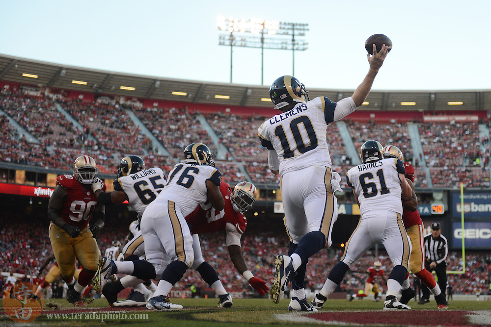 December 1, 2013; San Francisco, CA, USA; St. Louis Rams quarterback Kellen Clemens (10) passes the football during the fourth quarter against the San Francisco 49ers at Candlestick Park. The 49ers defeated the Rams 23-13.
