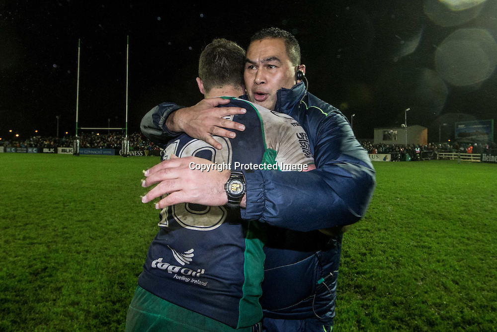 Guinness PRO12, Sportsground, Galway 1/1/2015<br /> Connacht vs Munster<br /> Connacht's Robbie Henshaw celebrates with head coach Pat Lam after the game<br /> Mandatory Credit &copy;INPHO/James Crombie