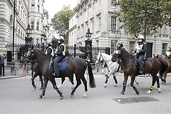 © Licensed to London News Pictures. 07/09/2019. London, UK. Police horses pass Downing Street after clashes between Pro EU demonstrators and right wing protestors in central London. Photo credit: Peter Macdiarmid/LNP
