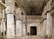 Dendera Interior'. Hector Horeau (1801-1782) French architect. Great Hall of the Temple of Hathor, showing the decorated columns. Dendera, Egypt. Archaeology Architecture Religion Mythology Ancient Egyptian