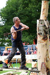 © Licensed to London News Pictures.14/07/15<br /> Harrogate, UK. <br /> <br /> A tree cutter competes in a competition on the opening day of the Great Yorkshire Show.  <br /> <br /> England's premier agricultural show opened it's gates today for the start of three days of showcasing the best in British farming and the countryside.<br /> <br /> The event, which attracts over 130,000 visitors each year displays the cream of the country's livestock and offers numerous displays and events giving the chance for visitors to see many different countryside activities.<br /> <br /> Photo credit : Ian Forsyth/LNP