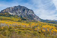 Fall foliage on County Road 12 outside Crested Butte, Colorado near Kebler Pass, part of the West Elk Loop scenic byway.