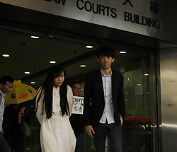 April 28, 2017 - Hong Kong, CHINA - Disqualified lawmakers of the pro-Hong Kong independence political party YOUNGSPIRATION, Baggio Leung ( R ) and Yau Wai-ching ( L ) leave the local court today after charged with unlawful assembly and unlawful forced entry at LEGICO last November. 2017 Apr-28.Hong Kong.ZUMA/Liau Chung Ren (Credit Image: © Liau Chung Ren via ZUMA Wire)