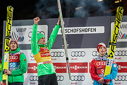 06.01.2016, Paul Ausserleitner Schanze, Bischofshofen, AUT, FIS Weltcup Ski Sprung, Vierschanzentournee, Bischofshofen, XXX, im Bild Podium Gesamtsieg v.l.: Severin Freund (GER, 2. Platz), Peter Prevc (SLO, Gesamtsieger) und Michael Hayboeck (AUT, 3. Platz) // f.l.: 2nd placed Severin Freund of Germany Winner Peter Prevc of Slovenia and 3rd placed Michael Hayboeck of Austria celebrates on overall podium of the Four Hills Tournament of FIS Ski Jumping World Cup at the Paul Ausserleitner Schanze in Bischofshofen, Austria on 2016/01/06. EXPA Pictures © 2016, PhotoCredit: EXPA/ JFK