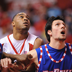 Jan 31, 2009; Piscataway, NJ, USA; Rutgers forward Jaron Griffin (32) battles with DePaul center Matija Poscic (31) for rebound positioning during the first half of Rutgers' 75-56 victory over DePaul in NCAA college basketball at the Louis Brown Athletic Center