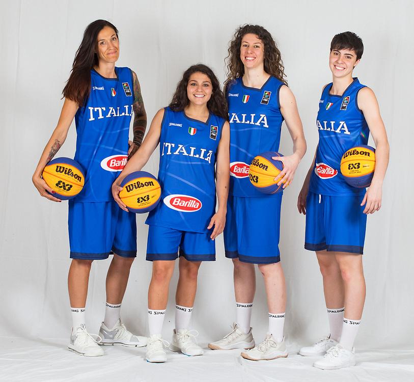 Filippi Marcella D alie Raelin Marie Rulli Giulia Ciavarella Giulia<br /> Nazionale Femminile Open 3x3<br /> Roma 01/06/2018<br /> Foto Ciamillo - Castoria