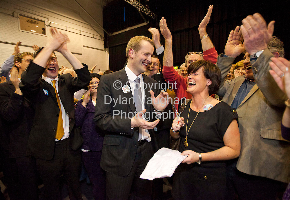 26/2/2011.John Paul Phelan Fine Gael pictured at the count centre at Cillin Hill Kilkenny for the Carlow Kilkenny vote celebrating toping the poll on the first count..Picture Dylan Vaughan.....