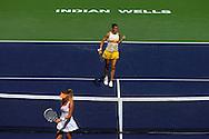 Indian Wells, CA - Flavia Pennetta pumps fist during the final match against Agnieszka Radwanska of Poland during the BNP Paribas Open.