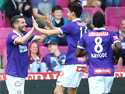 07.05.2016, Generali Arena, Wien, AUT, 1. FBL, FK Austria Wien vs FC Admira Wacker Moedling, 34. Runde, im Bild Torjubel Alexander Gorgon (FK Austria Wien), Tarkan Serbest (FK Austria Wien) und Olarenwaju Ayobami Kayode (FK Austria Wien) // during Austrian Football Bundesliga Match, 34th Round, between FK Austria Vienna and FC Admira Wacker Moedling at the Generali Arena, Vienna, Austria on 2016/05/07. EXPA Pictures © 2016, PhotoCredit: EXPA/ Thomas Haumer